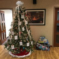 Christmas Mother Tree in Lobby with Gifts