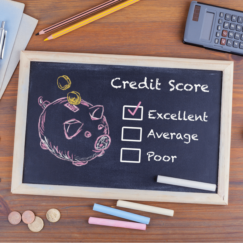 Image of blackboard with piggy bank and credit score