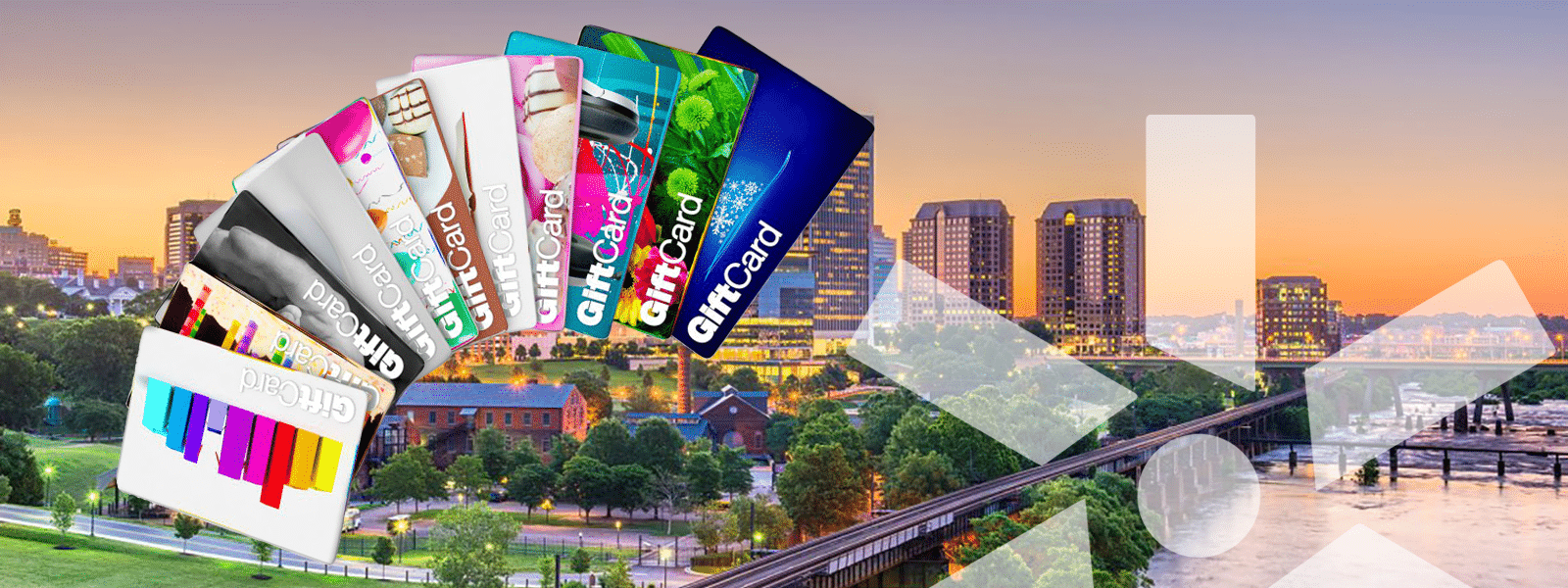 an array of gift cards overlay a Richmond city skyline